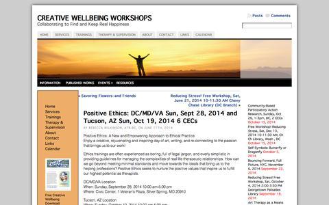 Screenshot of Signup Page creativewellbeingworkshops.com - Positive Ethics: DC/MD/VA Sun, Sept 28, 2014 and Tucson, AZ Sun, Oct 19, 2014 6 CECs « Creative Wellbeing Workshops - captured Oct. 28, 2014