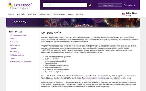 Screenshot of About Page biolegend.com - Company - captured Sept. 21, 2019