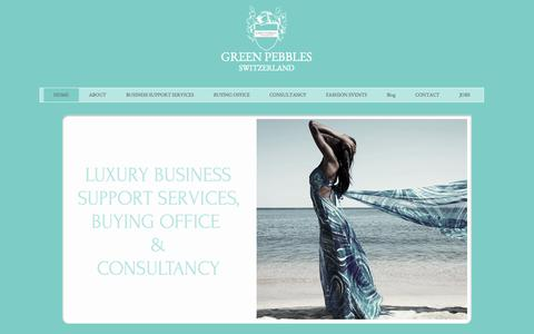 Screenshot of Home Page green-pebbles.com - GREEN PEBBLES SWITZERLAND - LUXURY & FASHION CONSULTANCY - captured Oct. 1, 2014