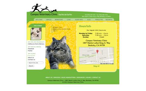 Screenshot of Hours Page campusveterinary.com - Campus Veterinary Clinic · Hours/Info - captured Oct. 1, 2014