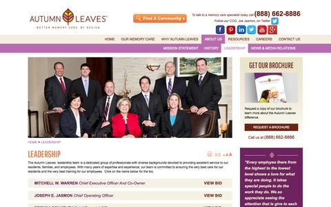 Screenshot of Team Page autumnleaves.com - LEADERSHIP | BIOS | AUTUMN LEAVES ASSISTED LIVING - captured Oct. 3, 2014