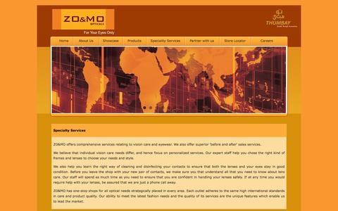 Screenshot of Services Page zoandmo.com - Quality care & Superior Service - ZO&MO Opticals - captured March 2, 2016