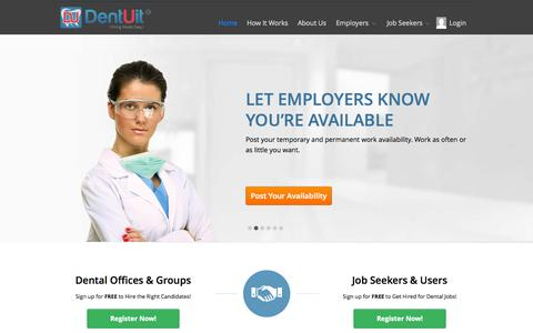 Screenshot of Home Page dentuit.com - Hiring & Dental Jobs Made Easy! | DentUit - captured Nov. 10, 2015