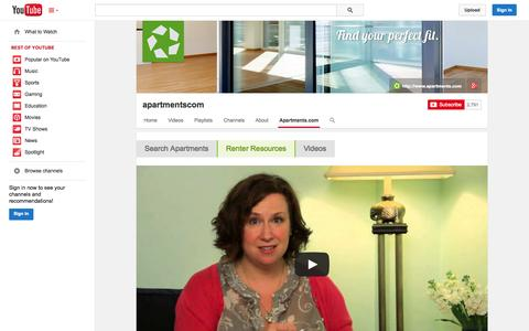 Screenshot of YouTube Page youtube.com - apartmentscom  - YouTube - captured Oct. 23, 2014