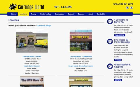 Screenshot of Locations Page cartridgeworldstl.com - Locations - Cartridge World - captured Nov. 1, 2014