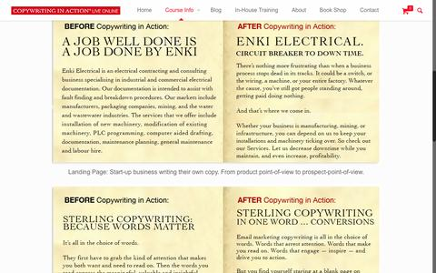 Screenshot of Case Studies Page copywritinginaction.com.au - Before and After Copywriting in Action   Case StudiesCopywriting in Action - captured Feb. 9, 2016