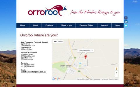 Screenshot of Contact Page orrorookangaroo.com.au - Contact Orroroo Kangaroo - captured Nov. 28, 2016