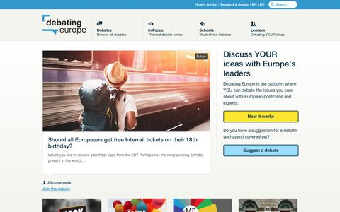 Screenshot of Home Page debatingeurope.eu - Debating Europe – Discuss YOUR ideas with Europe's leaders - captured Aug. 6, 2018