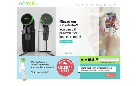 Screenshot of Home Page nomiku.com - Nomiku – Immersion Circulator and Sous Vide Machine - captured Sept. 13, 2014
