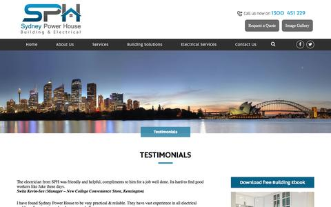 Screenshot of Testimonials Page sydneypowerhouse.com.au - Testimonials - Sydney Power House Sydney Power House - captured Dec. 2, 2016