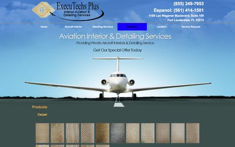 Screenshot of Products Page executechsplus.com - Aircraft Cleaning, Aircraft Detailing | Fort Lauderdale, FL - captured Feb. 2, 2016