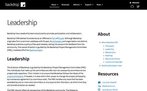 Screenshot of Team Page backdropcms.org - Leadership | Backdrop CMS - captured Sept. 22, 2018