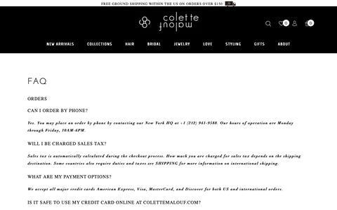 Screenshot of FAQ Page colettemalouf.com - FAQ - Colette Malouf - captured Sept. 29, 2018