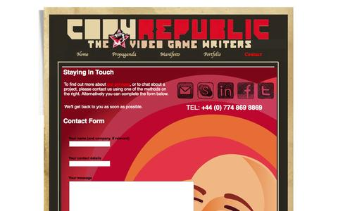 Screenshot of Contact Page copyrepublic.com - Contact - Copy Republic - The Video Game Writers - captured Sept. 30, 2014