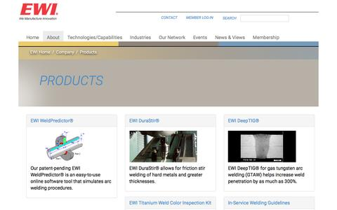 Screenshot of Products Page ewi.org - Products | Materials Joining, Forming, Testing, Modeling, and Engineering Consulting Services – EWI - captured July 10, 2016