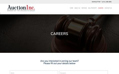 Screenshot of Jobs Page auctioninc.co.za - Careers - captured July 31, 2018