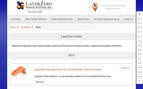 Screenshot of Press Page layerzero.com - LayerZero Power Systems News - captured July 21, 2017