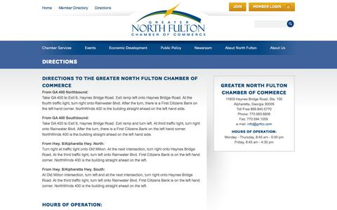 Screenshot of Contact Page Maps & Directions Page gnfcc.com - Directions | Greater North Fulton Chamber of Commerce - captured Oct. 23, 2014