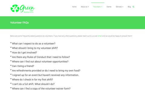 Screenshot of FAQ Page greenchairrecycling.com - Volunteer FAQs - Green Chair Recycling | Recycling made easy - captured May 24, 2017