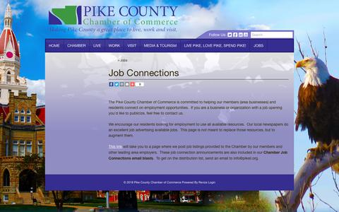 Screenshot of Jobs Page pikeil.org - Job Connections, The Pike County Chamber of Commerce is committed to helping our members area businesses and residents connect on employment opportunities - captured Sept. 28, 2018