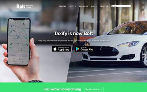 Screenshot of Home Page taxify.eu - Bolt (Taxify) - Fast and affordable rides - captured March 19, 2019