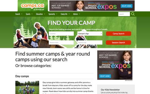 Screenshot of Home Page camps.ca - Summer Camps, Kids Day Camps and Overnight Camps | Camps.ca - captured Sept. 27, 2015