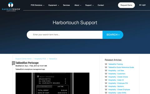 Screenshot of Support Page harbortouch.com - TabbedOut Periscope : Harbortouch Support Center - captured Oct. 9, 2018