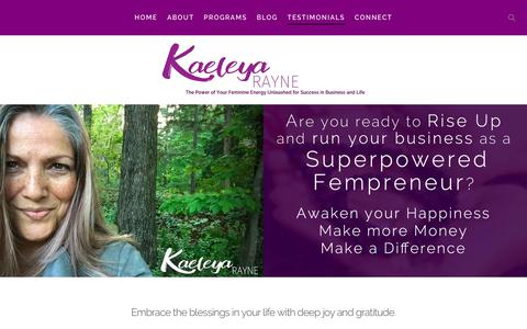 Screenshot of Testimonials Page kaeleyarayne.com - Testimonials - Kaeleya Rayne - captured Sept. 20, 2018