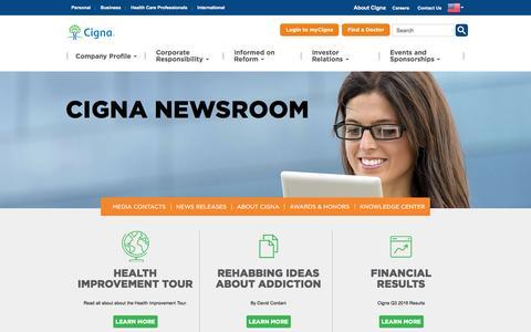 Screenshot of Press Page cigna.com - Cigna Newsroom   Home - captured Dec. 4, 2016