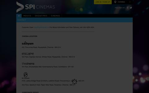 Screenshot of Contact Page spicinemas.in - Contact - captured Jan. 13, 2016