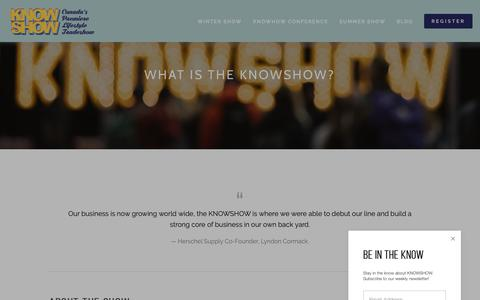 Screenshot of About Page knowshow.ca - About — KNOWSHOW - captured Nov. 4, 2018