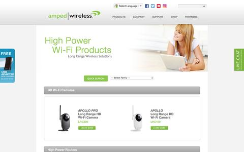 Screenshot of Products Page ampedwireless.com - Amped Wireless - The Leader in High Power, Long Range Wireless Solutions - captured July 25, 2016