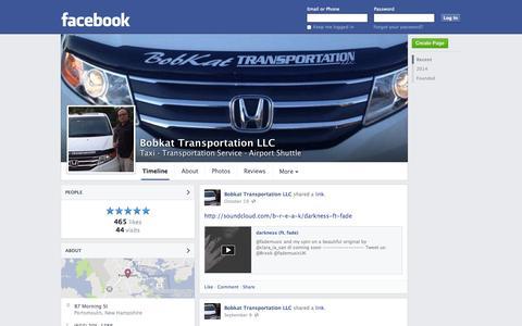 Screenshot of Facebook Page facebook.com - Bobkat Transportation LLC - Portsmouth, NH - Taxi, Transportation Service | Facebook - captured Oct. 23, 2014