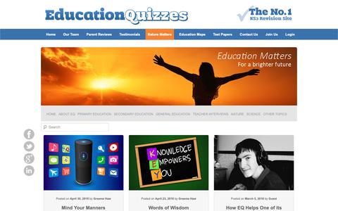 Screenshot of Blog educationquizzes.com - Education Matters | Education Quizzes - captured Sept. 27, 2018