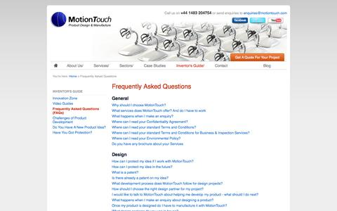 Screenshot of FAQ Page motiontouch.com - Frequently Asked Questions | MotionTouch - captured Oct. 7, 2014