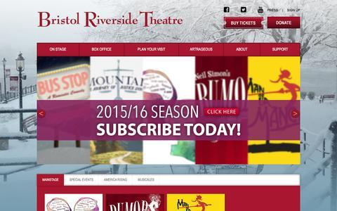 Screenshot of Home Page brtstage.org - Bristol Riverside Theatre - captured Feb. 8, 2016