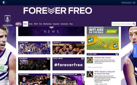 Screenshot of Press Page fremantlefc.com.au - News & Media - fremantlefc.com.au - captured Sept. 23, 2018