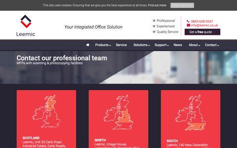 Screenshot of Contact Page leemic.co.uk - Contact  Leemic Copiers, Printer & Photocopiers - captured Sept. 28, 2018