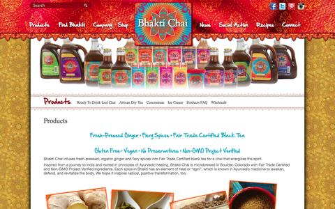 Screenshot of Products Page bhaktichai.com - Products - Bhakti ChaiBhakti Chai - captured Oct. 27, 2014