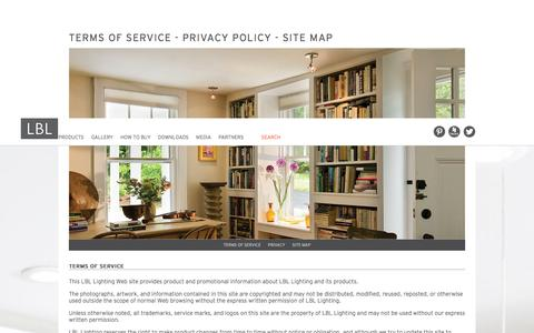 Screenshot of Privacy Page Terms Page lbllighting.com - Terms of Use, Privacy Policy, Site Map | LBL Lighting - captured Nov. 1, 2014