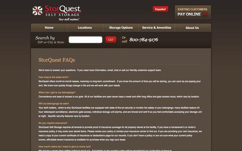 Screenshot of FAQ Page storquest.com - StorQuest's FAQ - captured Oct. 7, 2014