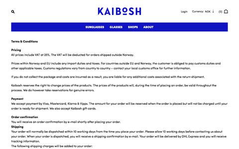 Screenshot of Terms Page kaibosh.com - Terms & Conditions – Kaibosh - captured June 8, 2017