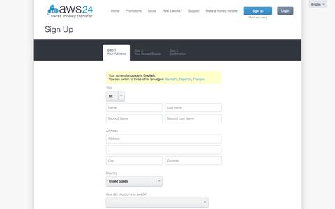Screenshot of Signup Page aws24.com - free registration and immediate money transfer - captured Sept. 23, 2014