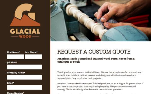 Screenshot of Pricing Page glacialwood.com - Glacial Wood Request a Quote - captured Aug. 5, 2017