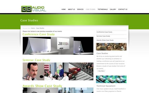 Screenshot of Case Studies Page gbaudiovisual.co.uk - Have a look at our Case Studies, AV Hire, Croydon, London, UK | GB Audio Visual - captured Sept. 26, 2014