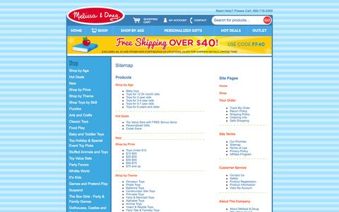 Screenshot of Site Map Page melissaanddoug.com captured Oct. 27, 2014