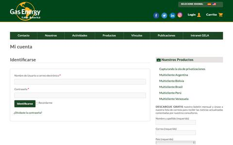 Screenshot of Login Page gasenergyla.com - Mi cuenta | Gas Energy Latin America - captured Sept. 27, 2018