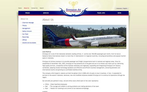 Screenshot of About Page sriwijayaair.co.id - About Us | Sriwijaya Air - captured Sept. 18, 2014