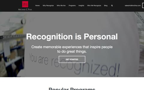 Screenshot of Home Page mcfrecognition.com - Employee Recognition Programs and Engagement Services - captured Sept. 11, 2015