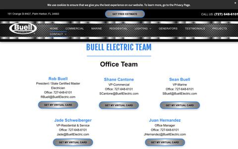 Screenshot of Team Page buellelectric.com - Buell Electric's Expert Staff | Palm Harbor | Clearwater | Tampa Bay - captured Oct. 7, 2018